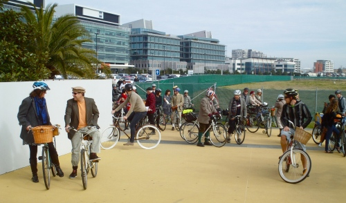 the group en route at the foreshore