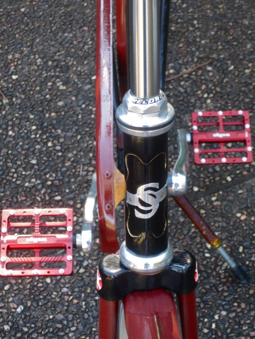campag record head set and home made headbadge